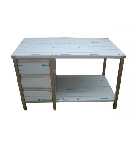 Pracovní nerezový stůl (šuplíkový box, 1x police), rozměr (d x š): 1100 x 700 x 900 mm