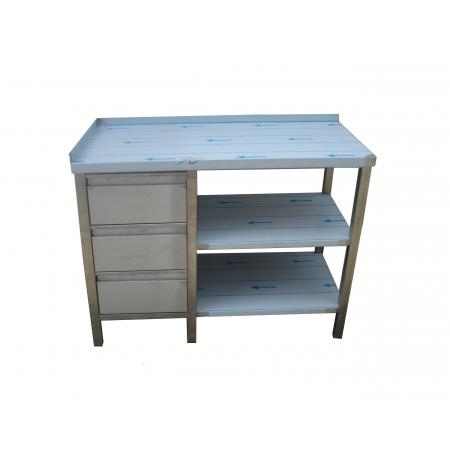 Pracovní nerezový stůl (šuplíkový box, 2x police), rozměr (d x š): 1100 x 700 x 900 mm