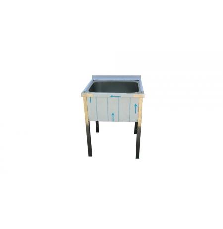 Stůl mycí nerezový jednodřezový bez police, rozměr: 700 x 700 x 900 mm, rozměr dřezu: 600 x 500 x 300 mm