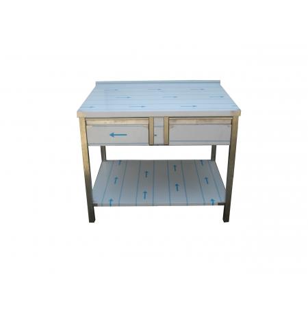 Pracovní nerezový stůl (2x šuplík, 1x police), rozměr (d x š): 1000 x 700 x 900 mm