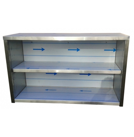 Závěsná nerezová skříňka otevřená, rozměr (d x h x v): 900 x 300 x 600 mm