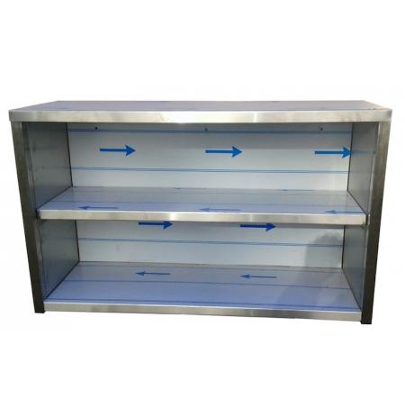 Závěsná nerezová skříňka otevřená, rozměr (d x h x v): 1600 x 300 x 600 mm