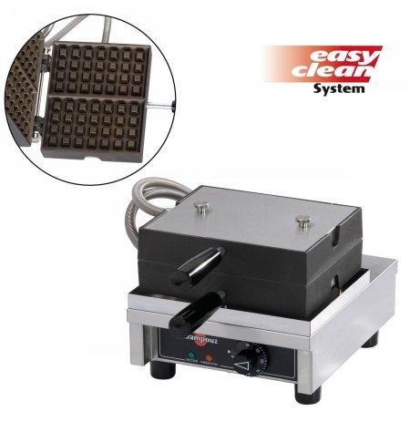 Vaflovač jednoduchý elektrický, Lutych 4x7, sklopný 90°, EasyClean