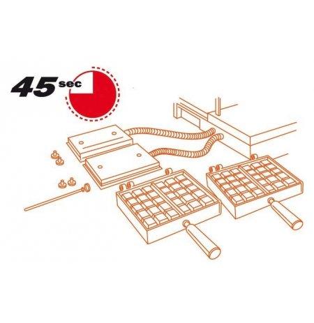 Vaflovač jednoduchý elektrický, Fruit 4x6, sklopný 90°, EasyClean