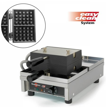 Vaflovač jednoduchý elektrický, Lutych 4x5, sklopný 180°, madlo I, EasyClean, KRAMPOUZ
