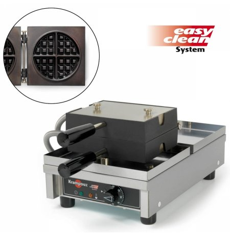 Vaflovač jednoduchý elektrický, Kulatá 4x8, sklopný 180°, EasyClean, KRAMPOUZ