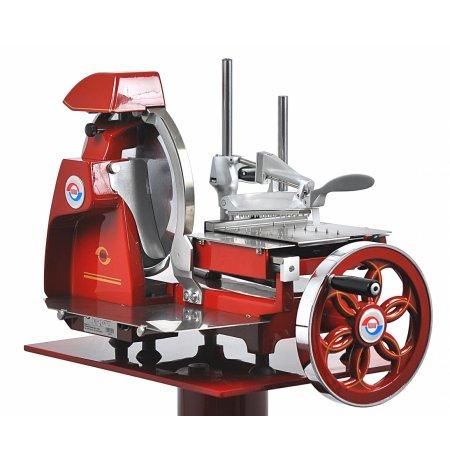 Nářezový stroj mechanický retro Flywheel CE 300/10H červený, pro krájení Prosciutto Crudo