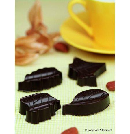 Forma na čokoládu silikonová EasyChoc 8x Listy, 4 druhy