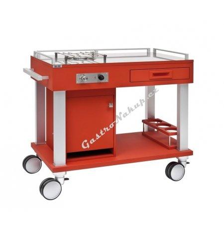 Flambovací servírovací vozík Tactus červený, 1 plynový hořák