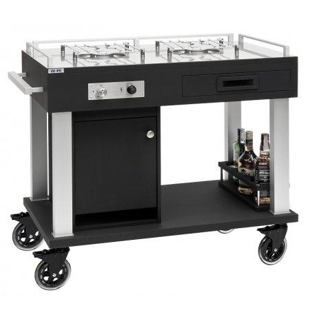 Flambovací servírovací vozík Tactus černý, 2 plynové hořáky