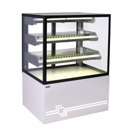 Vitrína chladící obslužná Cube 2, statická, 150 cm, cukrářská, nerezová