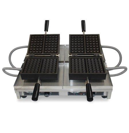 Vaflovač dvojitý elektrický Brusel 4x7 Krampouz WECAKB, sklopný 180°, madlo I, EasyClean