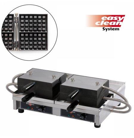 Vaflovač dvojitý elektrický Lutych 4x6 Krampouz WECAEB, sklopný 180°, madlo I, EasyClean