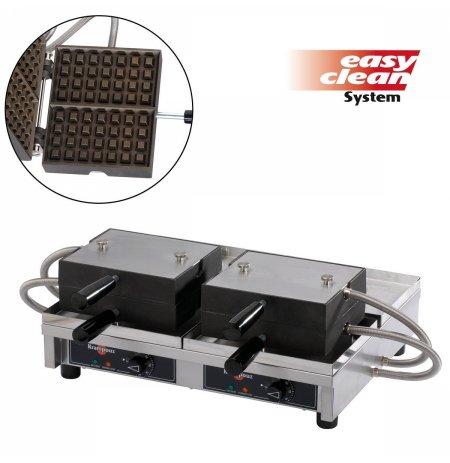 Vaflovač dvojitý elektrický Lutych 4x7 Krampouz WECAHB, sklopný 180°, madlo I, EasyClean