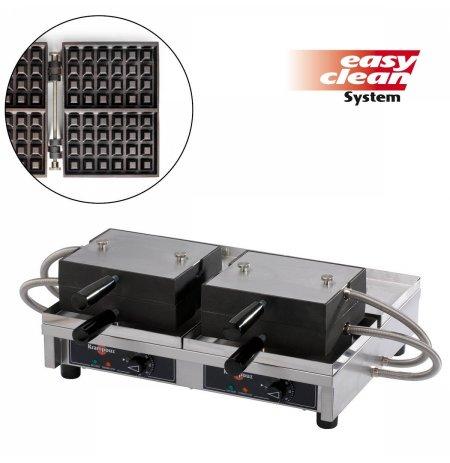 Vaflovač dvojitý elektrický Lutych Paty 4x6 Krampouz WECAGB, sklopný 180°, madlo I, EasyClean