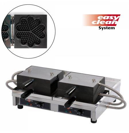 Vaflovač dvojitý elektrický 10x Srdce Krampouz WECAQB, sklopný 180°, madlo I, EasyClean