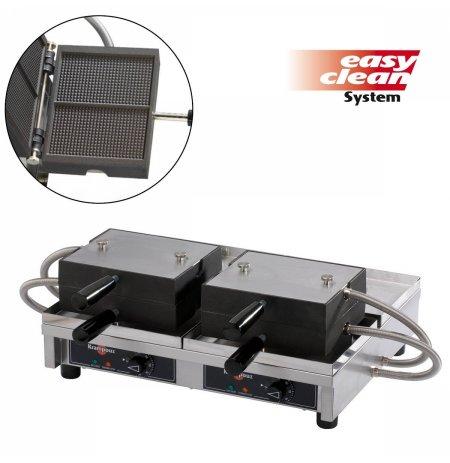 Vaflovač dvojitý elektrický Fine 16x28 Krampouz WECALB, sklopný 180°, madlo I, EasyClean