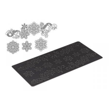 Silikonová šablona na jedlou krajku Tricot Decor Sněhová vločka 400x200x1mm