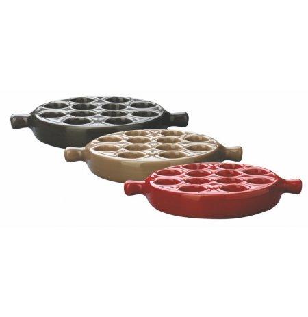 Podnos na šneky keramický červený, 12 pozic