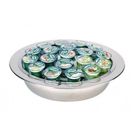 Podnos na jogurty chlazený, kulatý, nerezový