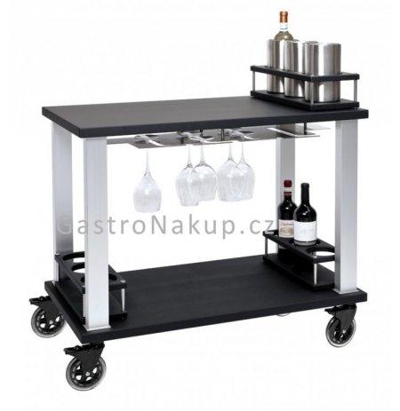 Servírovací vozík Gueridon Tactus na víno a likéry, černý