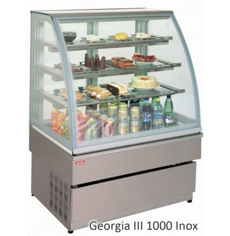 Vitrína chladící obslužná Georgia 3, nerezová, 100 cm, cukrářská