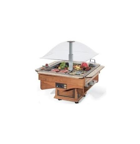 Chladící stůl pojízdný s odkládacími policemi Cuppola con mensole