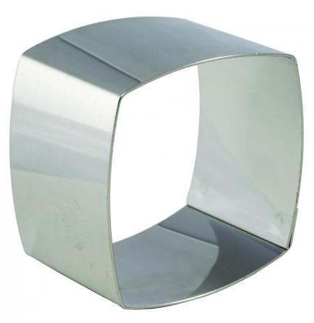 Nerezové formičky zaoblený čtverec 70x70x40mm, sada 4ks