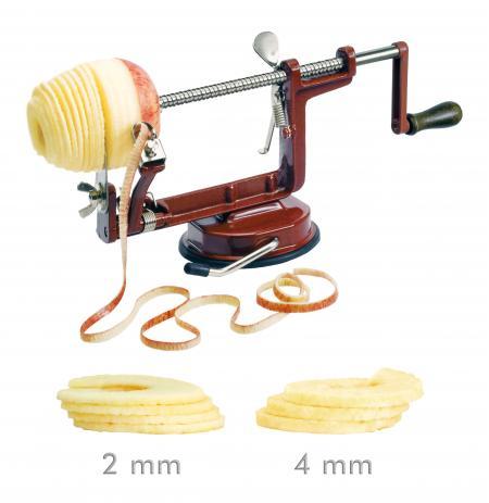 Loupač jablek ruční domácí 3v1, vínový, plátky 2 a 4 mm, přísavka