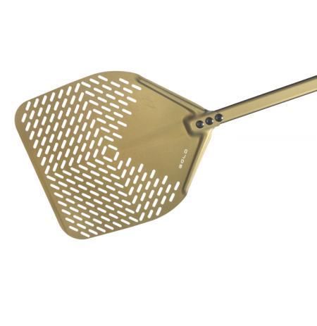 Lopata na pizzu GOLD sázecí perforovaná 33x33cm