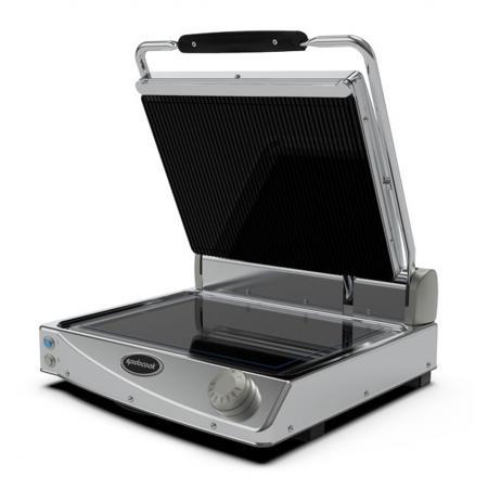 Kontaktní gril medium Spidoglass SP015PR, manuál ovládání, černý povrch