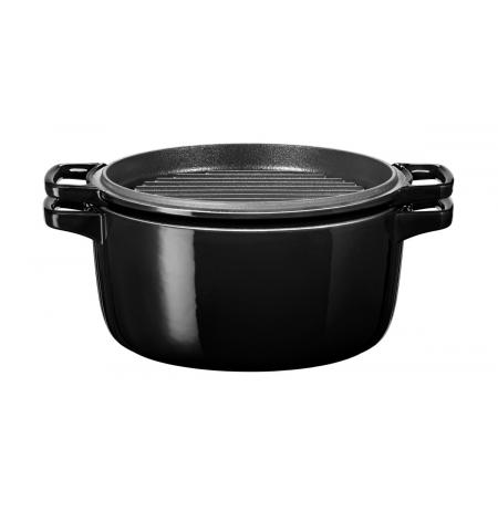 Hrnec s poklicí litinový KitchenAid 5,7l černá Ø 28 cm