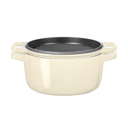 Hrnec s poklicí litinový KitchenAid 3,8 l, mandlová Ø 24 cm