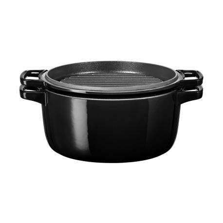 Hrnec s poklicí litinový KitchenAid 3,8 l, černá Ø 24 cm