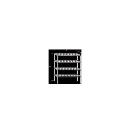 Regál nerezový - roštové police, rozměr (š x d x v): 400 x 900 x 1800 mm