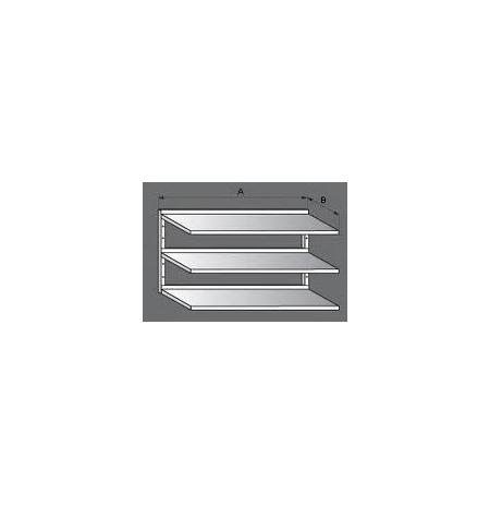 Police nerezová nástěnná třípatrová, rozměr (d x š): 1900 x 300 mm